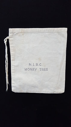 Vintage Material Money Tree Bank bag. Bear Wares Vintage www.bearwaresvintage.com.au Vintage bank advertising