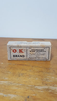 O.K Brand Wire Staples Cardboard Box Bear Wares Vintage www.bearwaresvintage.com.au Old shop advertising
