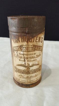 Van Houtens Cocoa 1/4 lb tin, Bear Wares Vintage www.bearwaresvintage.com.au Vintage advertising
