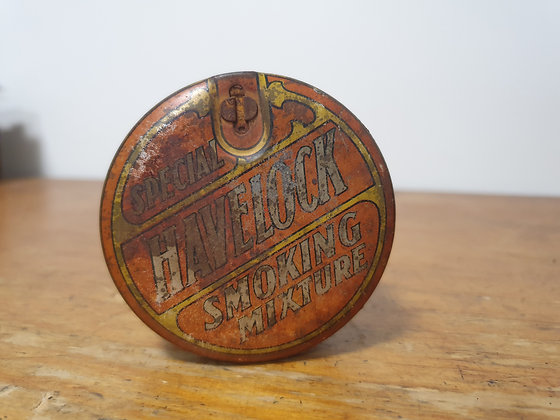Round Havelock Tin Bear Wares Vintage www.bearwaresvintage.com.au Old shop advertising tobacco tins general store