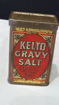Kelto Gravy Salt 2 oz tin. Bear Wares Vintage www.bearwaresvintage.com.au Vintage shop advertising