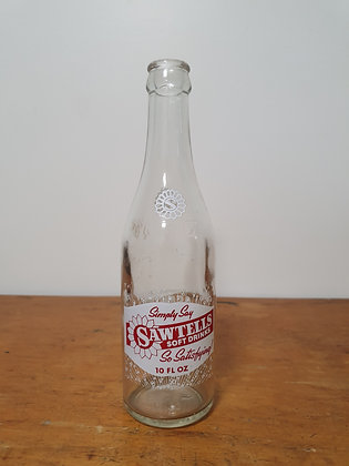 Sawtells Kingaroy 10 oz Ceramic Label Bottle www.bearwaresvintage.com.au Old bottles Ceramic Label Crown Seal Advertising