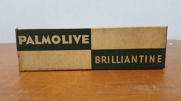 Bear Wares Vintage Palmolive Brilliantine Cardboard box with tube www.bearwaresvintage.com.au Old shop advertising