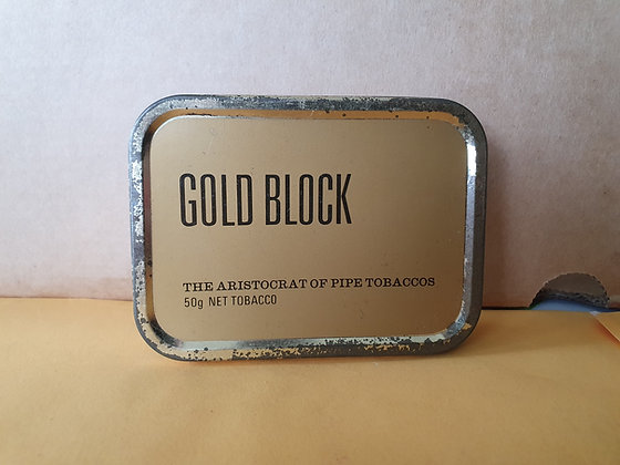 Gold Block Tobacco Tin, Bear Wares Vintage, www.bearwaresvintage.com.au, tobacco, mancave, collector, old tins, display
