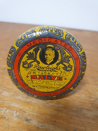Rawleighs Antiseptic Salve Tin Bear Wares Vintage www.bearwaresvintage.com.au Old shop advertising tins general store