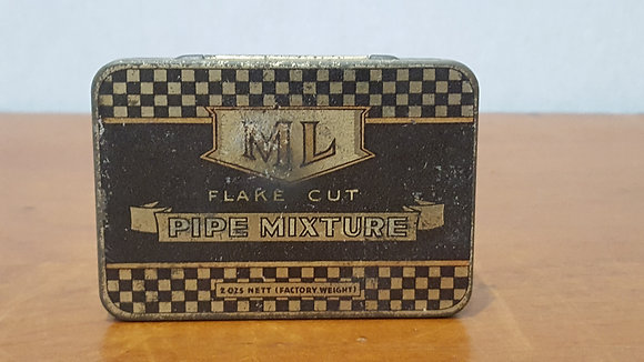 Bear Wares Vintage ML Flake Cut Pipe Mixture Tin www.bearwaresvintage.com.au Old shop advertising tobacco tin
