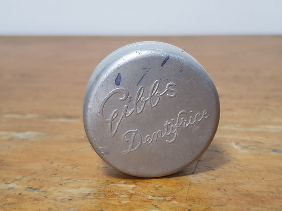 Gibbs Dentifrice Tin Bear Wares Vintage www.bearwaresvintage.com.au Old shop advertising tin
