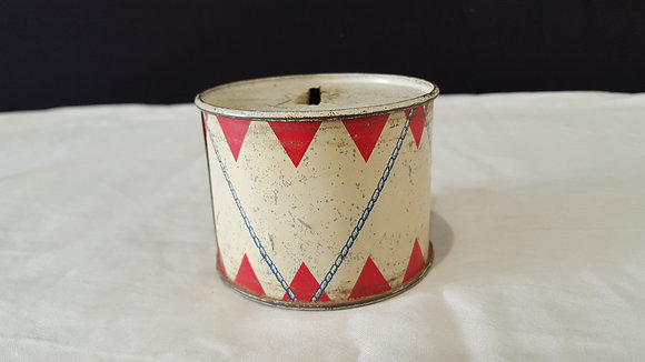 Tin Drum Money Box. Bear Wares Vintage www.bearwaresvintage.com.au