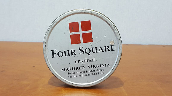 Bear Wares Vintage Four Square Matured Virginia Round Tobacco Tin www.bearwaresvintage.com.au Old shop advertising