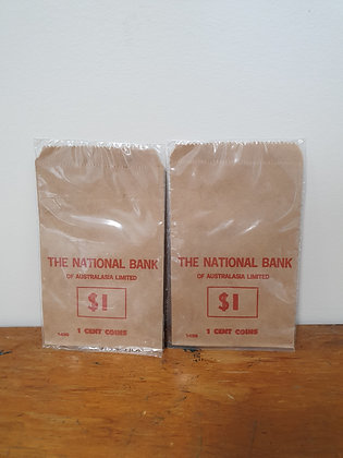 National Bank $1 of 1 cent coin bag