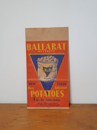 Ballarat Potatoes Paper Bag Bear Wares Vintage www.bearwaresvintage.com.au Old shop advertising General store