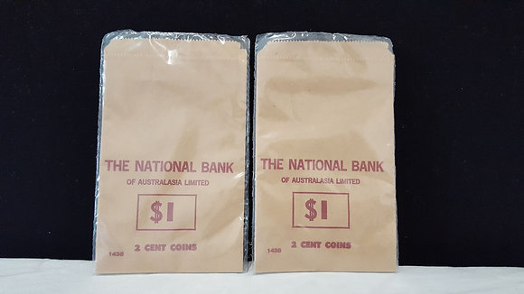 National Bank $1 of 2 cent coin bag