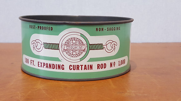Bear Wares Vintage Weldon Curtain Rod Tin www.bearwaresvintage.com.au Old shop advertising