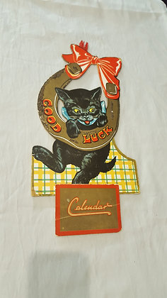 Good Luck 1950 Calendar Cardboard display, Bear Wares Vintage www.bearwaresvintage.com.au Vintage shop display