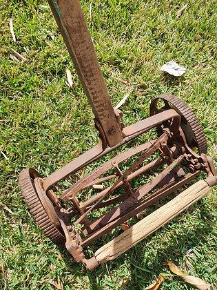 Vintage Wooden Handle Lawn Mower, Bear Wares Vintage, www.bearwaresvintage.com.au, vintage garden, lawn display, old mower,