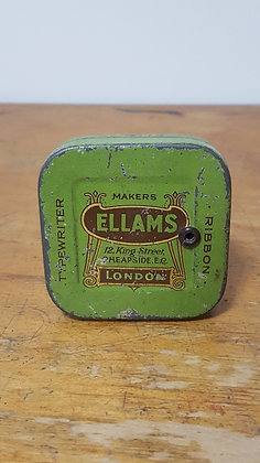 Ellams Typewriter Ribbon Tin Bear Wares Vintage www.bearwaresvintage.com.au Old shop advertising