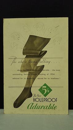 New Holeproof Adurable Hoisery Advertising Show Card, Bear Wares Vintage www.bearwaresvintage.com.au Vintage shop display