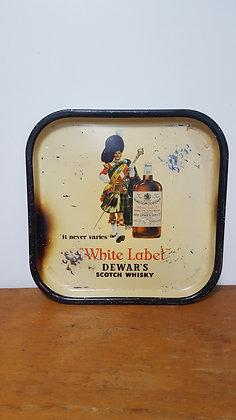 Dewars White Label Scotch Whisky Drink Tray Bear Wares Vintage www.bearwaresvintage.com.au Old shop advertising