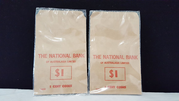 National Bank $1 of 1 cent coin bag. Bear Wares Vintage www.bearwaresvintage.com.au