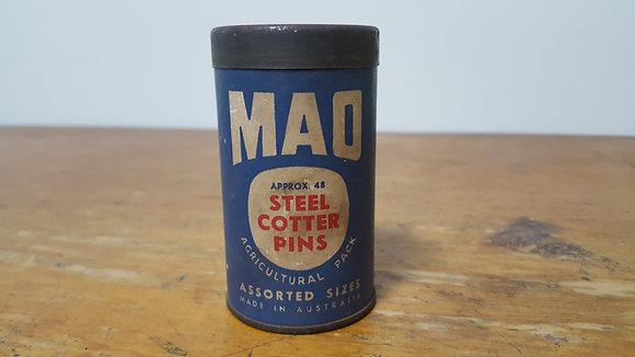 Mao Steel Cotter Pins Cardboard Tin Bear Wares Vintage www.bearwaresvintage.com.au Old shop advertising