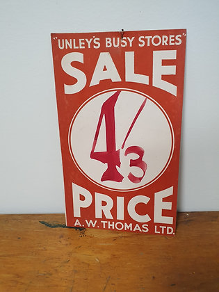 Unley's Sale Price Card Bear Wares Vintage www.bearwaresvintage.com.au Old shop advertising price card