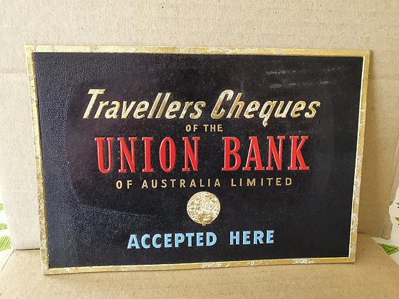 Vintage Bank Shop Advertising Showcard, Bear Wares Vintage, www.bearwaresvintage.com.au, old bank history, shop advertising,