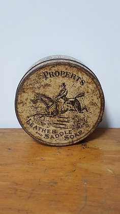 Propert's Leather & Saddle Soap 4.25 oz tin Bear Wares Vintage www.bearwaresvintage.com.au Old shop advertising old tins