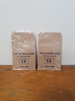 National Bank $2 of 5 cent coin bag