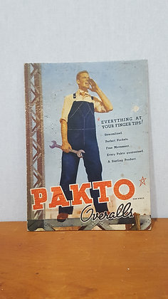 Pakto Overall Advertising Show card Bear Wares Vintage www.bearwaresvintage.com.au Old shop advertising General store