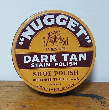 Nugget Dark Tan Stain Polish 1 1/2 oz tin Bear Wares Vintage www.bearwaresvintage.com.au Old shop advertising