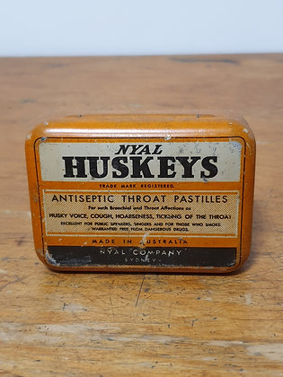 Nyal Huskeys Throat Pastilles Tin Bear Wares Vintage www.bearwaresvintage.com.au Old medicine tin shop advertising