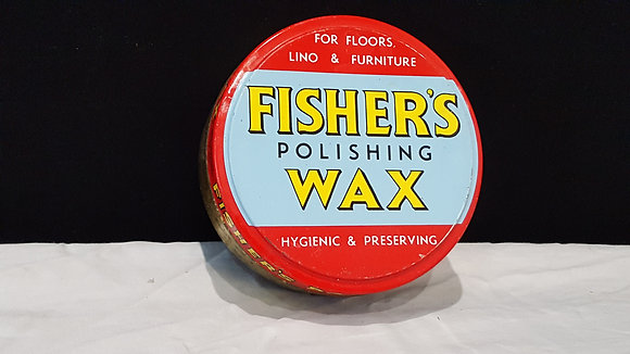 Fisher's Polishing wax 12 oz tin, Bear Wares Vintage www.bearwaresvintage.com.au Vintage shop advertising