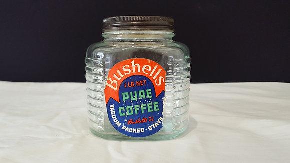 Bushell Half Pound Coffee jar with label, Bear Wares Vintage www.bearwaresvintage.com.au Vintage shop advertising