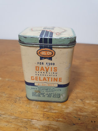 Davis Gelatine 8 oz Tin Bear Wares Vintage www.bearwaresvintage.com.au Old shop advertising general store