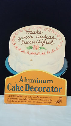 Aluminum Cake Decorator Adveritising Show Card, Bear Wares Vintage www.bearwaresvintage.com.au Old advertising, shop displays