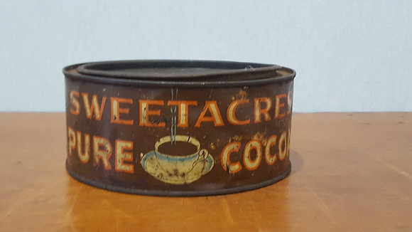 Bear Wares Vintage Sweetacres Pure Cocoa Tin www.bearwaresvintage.com.au Old shop advertising