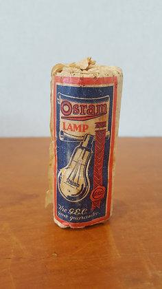Bear Wares Vintage Osram lamp bulb in paper label www.bearwaresvintage.com.au Old shop advertising