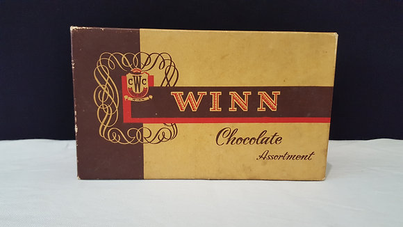 Winn Confectionery Chocolate box, Bear Wares Vintage www.bearwaresvintage.com.au Vintage shop advertising