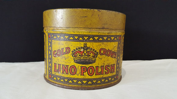 Gold Crown Lino Polish 1 lb tin. Bear Wares Vintage www.bearwaresvintage.com.au Vintage shop advertising
