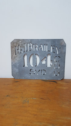 H.J. Brailey 104 Sydney Metal Stencil Bear Wares Vintage www.bearwaresvintage.com.au Old advertising
