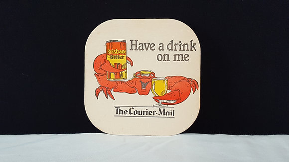 Brisbane Bitter - Courier Mail Coaster, Bear Wares Vintage www.bearwaresvintage.com.au Vintage advertising