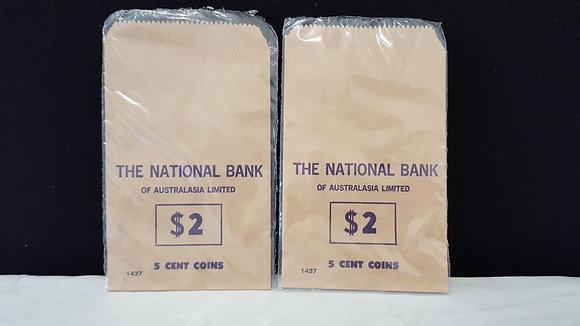 National Bank $2 of 5 cent coin bag. Bear Wares Vintage www.bearwaresvintage.com.au