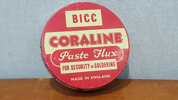 Bear Wares Vintage Bicc Coraline Paste Flux Tin www.bearwaresvintage.com.au Old shop advertising
