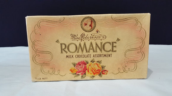 "Macrobertson ""Romance"" Choc box, Bear Wares Vintage www.bearwaresvintage.com.au Vintage shop advertising"
