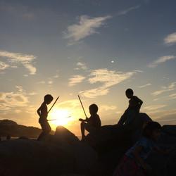 海辺の岩場