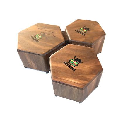 Bongô Hexagonal Rustic Triplo