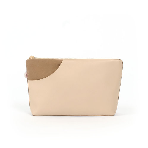 Faux Leather Canvas Accessory Pouch Camel