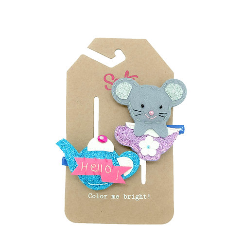 Mouse & Tea Pot Hair Clip