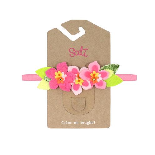 Neon Hot Pink Flower Headband (size 3-36 months)