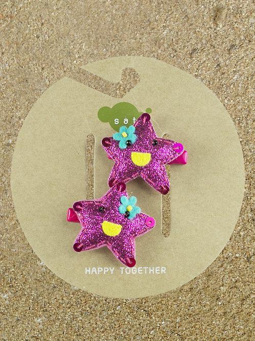 Pink Star Fish Hair Clip